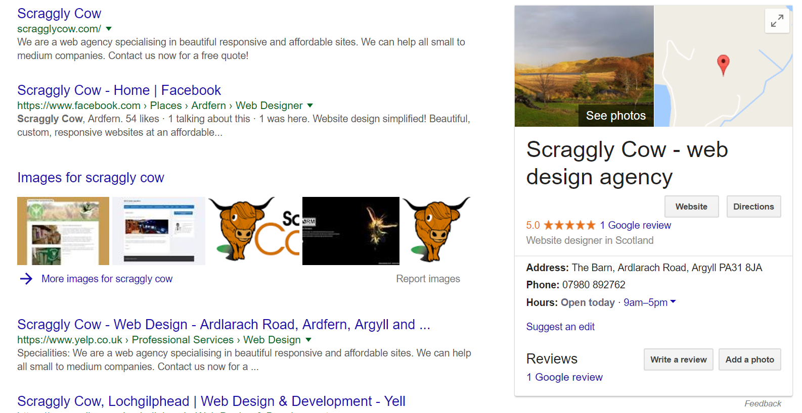 Free Google Business Listing - Scraggly Cow - Argyll Web Design